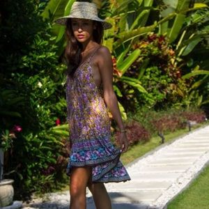Boho style multi print beach dress
